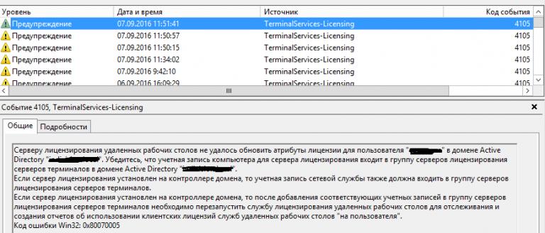 Кончилась лицензия терминального сервера реестр